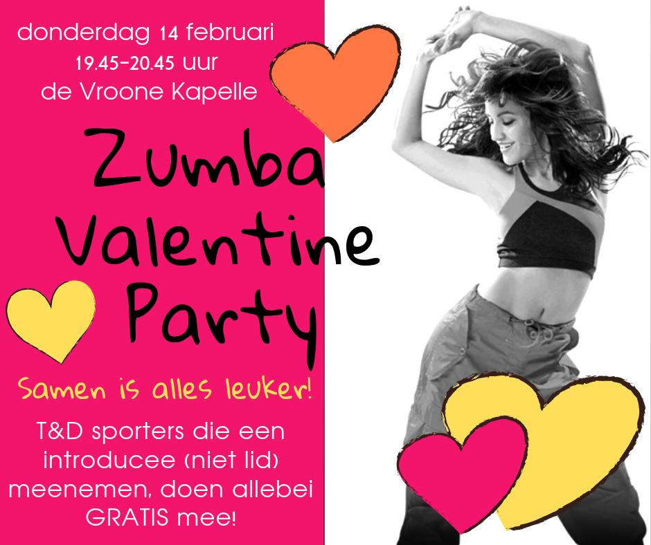 Donderdag 14 februari 2019 19.45-20.45 uur Zumba Valentine Party